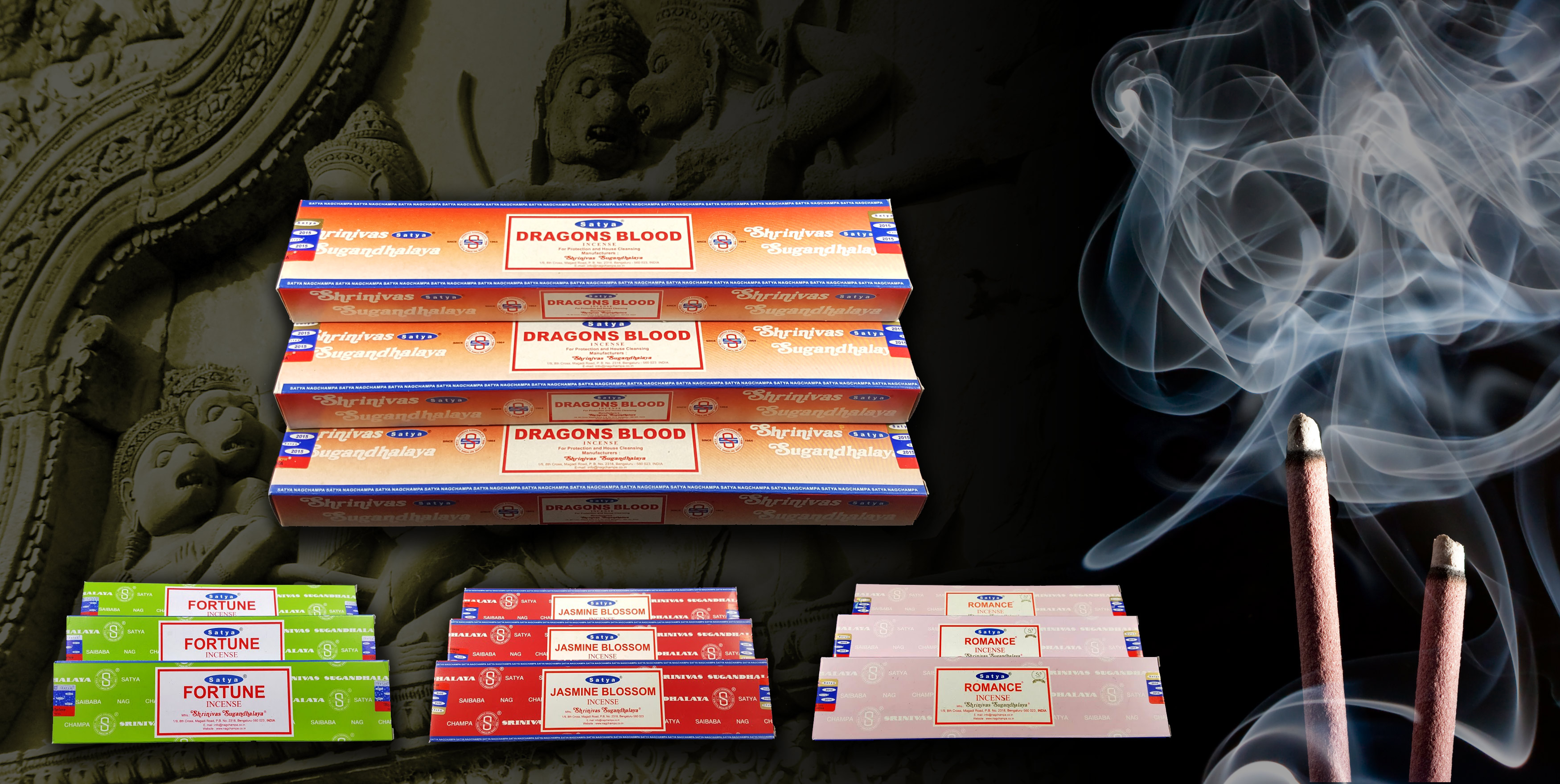 Satya Indian Incense Sticks, Nag Champa, Dragons Blood, Etc